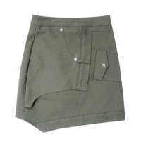 Buttoned unfooted cargo skirt