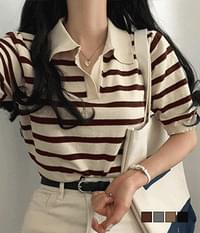 Popo Kara Striped Short Sleeve Knitwear