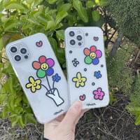 Rainbow Flower Pattern Full Cover iPhone Case