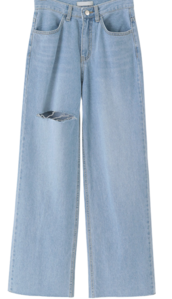 Wide Damage Denim Pants