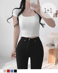East Square Short Sleeve Cropped Tee