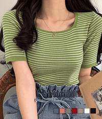Croquette Square Neck Striped Short Sleeve Knitwear