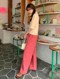 French banding wide pants