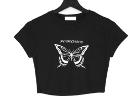 Butterfly print cropped short-sleeved T-shirt