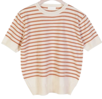 Short Sleeve Milky Striped Knitwear