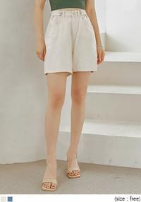 Buttoned Tab Accent Shorts
