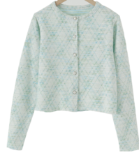Frilled pearl button cardigan
