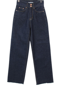 Two-button Raw high-wide jeans