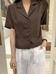 May linen short-sleeved cropped jacket