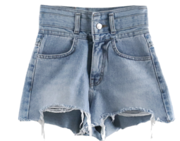 Alledy High Hem Cut Damage Denim Short Pants Shorts