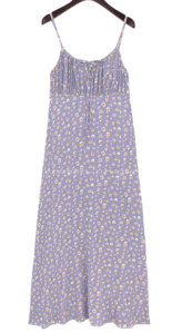Ruched Floral Long Sleeveless Dress