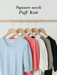 Square Neck Puff Short Sleeve Knitwear