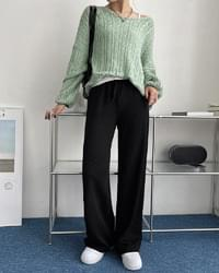 Curling Ribbed Banding Long Wide Pants