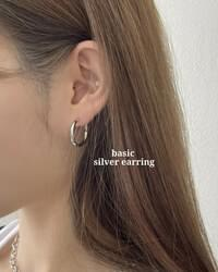 Gluming Basic One Touch Silver Ring Earrings