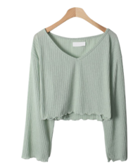 Lauren V-neck Wavy Knitwear