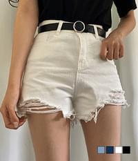 High waist damaged denim short pants