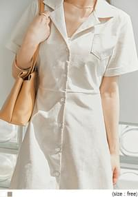 Cuffed Sleeve A-Line Shirt Dress