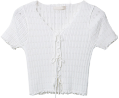 Jenny Ribbon Button Frill Crop Short Sleeve Knitwear T#YW756