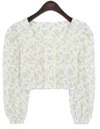 Lace Trim Floral Cropped Blouse