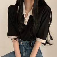 Color button collar short sleeve T