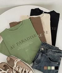 Paradise Loose-fit lettering short-sleeved T-shirt