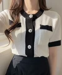 Flan Color Button Knitwear Cardigan 2color