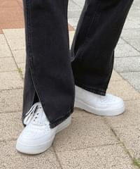 Jaber split straight-leg denim trousers