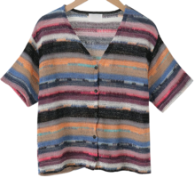 Multi-colored striped cardigan