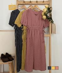 Picnic Check Linen Side Ribbon Long Dress
