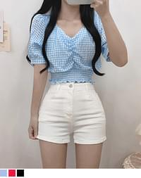 Io checked shirred wave cropped blouse