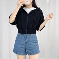 Cropped short sleeve hooded zip-up