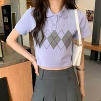 Argyle Casual Collar Crop Tee
