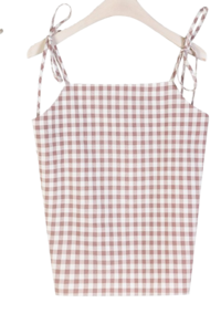 Picnic check string Sleeveless ♥ Ribbon knot bustier: D