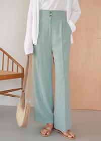 Linen two-button wide banding trousers
