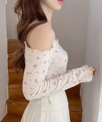 Blissom Flower Off Shoulder Knitwear 2color