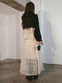 Lace nature long skirt