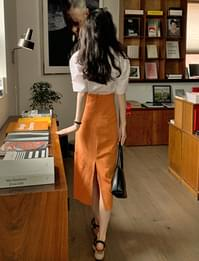 Tahiti H-line linen long skirt