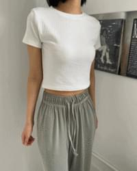 Lime Ribbed cropped short sleeved tea
