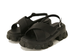 Crossed Upper Chunky Sandals