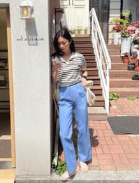 Croix Two-Pin Tuck Wide Cotton Pants