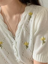 Tulip embroidered puff short-sleeved cardigan