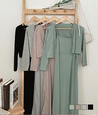 Come out in front of the house, long Dress+ cardigan two-piece set