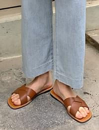 Simple Webbing Leather Flat Slippers