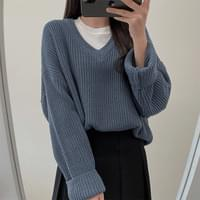 Wanna Have, Loose-fit Fit Hachi V-Neck Knitwear -7colors