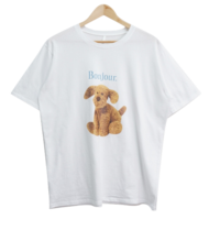 Bonjour Puppy Printing Short Sleeve Tee