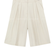 Pleat Accent Knee-Length Shorts