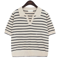 Johnny Collar Striped Knit Top