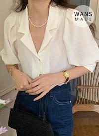bl4640 Warry shoulder puff short sleeve blouse