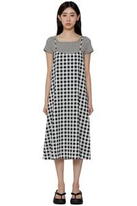 Checked board mid-length dress