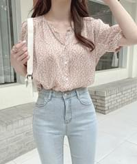 Candy Flower Chiffon Blouse - Ivory Same Day Shipping